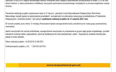 """Projekt pn. """"Nowoczesne przedszkole- nowe możliwości kętrzyńskich przedszkolaków"""" będzie kontynuowany"""