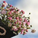 Obrazek przedstawia bukiet różowych kwiatów w brazowym, ratanowym koszyku z beżową wstążką na tle błękitnego nieba.