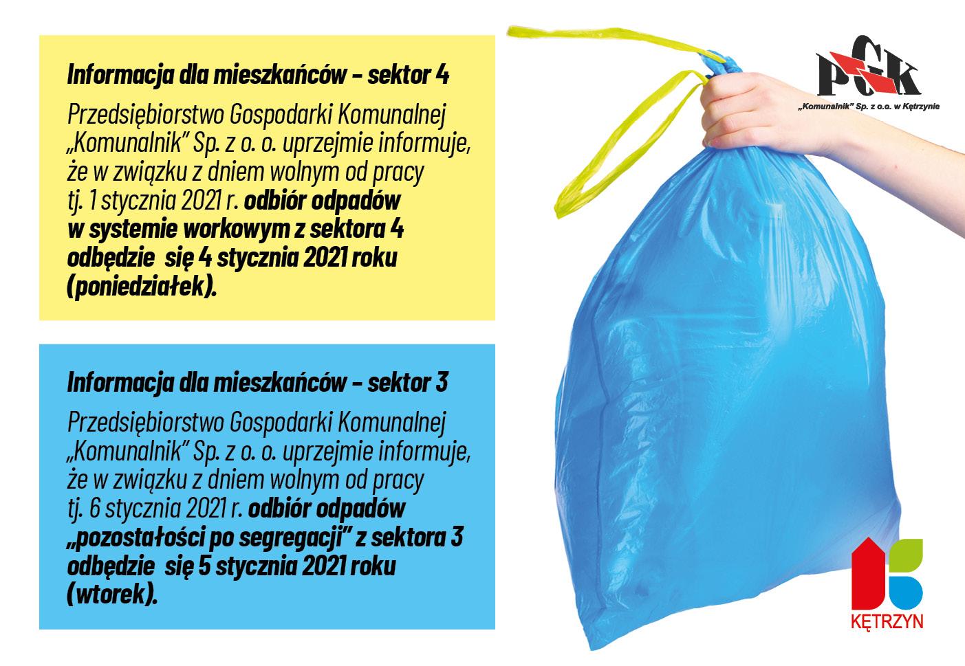 Grafika przedstawia dłoń trzymającą worek odpadów. Na grafice umieszczono komunikaty o treści: Informacja dla mieszkańców – sektor 4 Przedsiębiorstwo Gospodarki Komunalnej