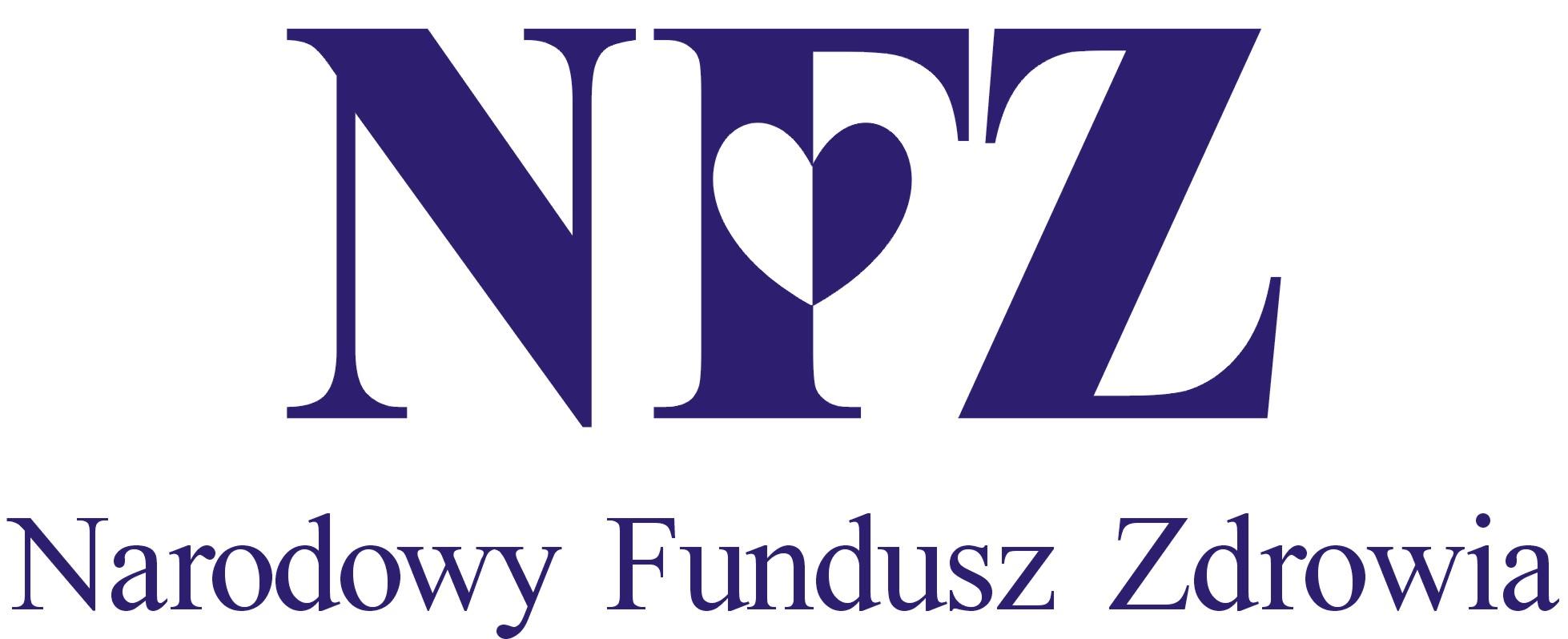 Obrazek przedstawia logo Narodowego Funduszu Zdrowia. Są to Granatowe litery N F Z na białym tle. Na literze  F  znajduje się serduszko granatowo białe.  Na dole granatowy napis Narodowy Fundusz Zdrowia.
