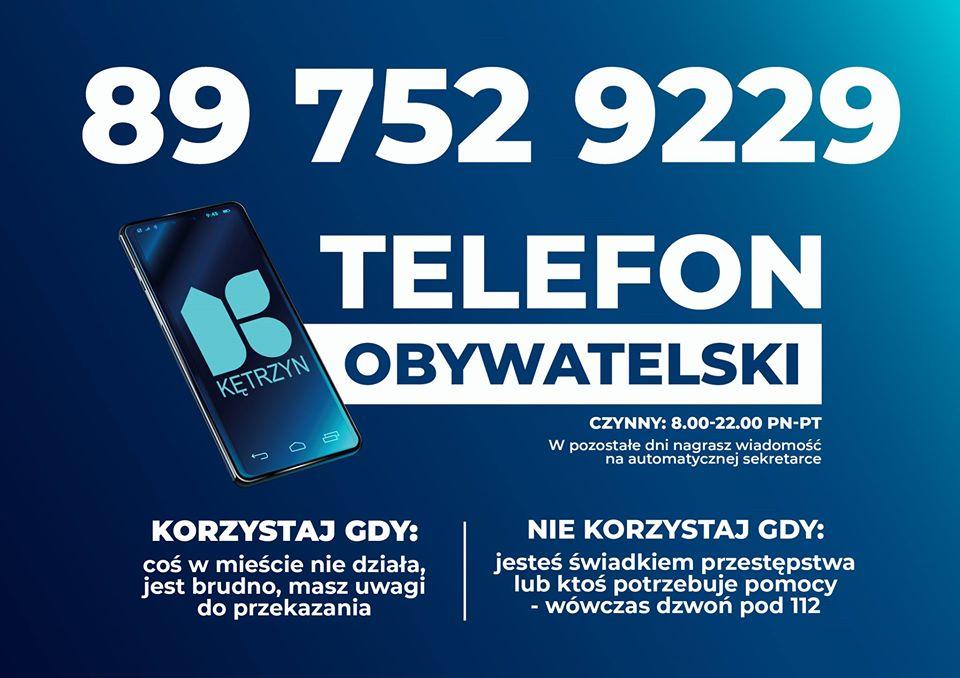 GRAFIKA NA KTÓREJ ZNAJDUJE SIĘ KOMUNIKAT: 897529229 TELEFON OBYWATELSKI, CZYNNY OD 8 DO 22 OD PONIEDZIAŁKU DO PIĄTKU W POZOSTAŁE DNI NAGRASZ WIADOMOŚĆ NA AUTOMATYCZNEJ SEKRETARCE. KORZYSTAJ GDY: COŚ W MIEŚCIE NIE DZIAŁA. JEST BRUDNO, MASZ UWAGI DO PRZEKAZANIA, NIE KORZYSTAJ GDY JESTEŚ ŚWIADKIEM PRZESTĘPSTWA LUB KTOŚ POTRZEBUJE POMOCY - WÓWCZAS DZWOŃ POD 112