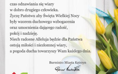Życzenia Burmistrza Miasta Kętrzyn z okazji Świąt Wielkanocnych