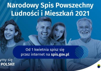 """Banner informacyjny o Narodowym Spisie Powszechnym, osoby na niebieskim tle, napis """"wejdź na spis.gov.pl i spisz się! Spis trwa od 1 kwietnia"""","""
