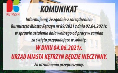 Komunikat Urzędu Miasta Kętrzyn