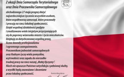 Życzenia Burmistrza Miasta z okazji Dnia Samorządu Terytorialnego oraz Dnia Pracownika Samorządowego