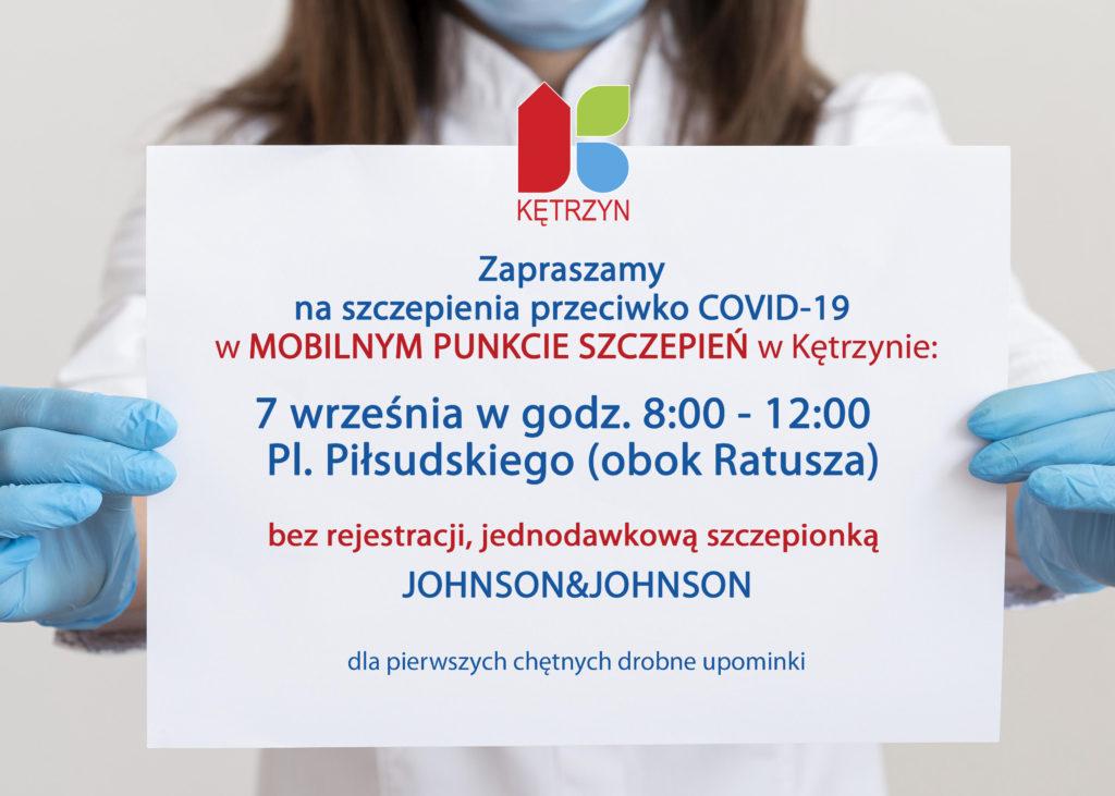 ‼ Mobilny Punkt Szczepień w Kętrzynie ‼  Już 7 września, we wtorek przed kętrzyńskim Ratuszem pojawi się Mobilny Punkt Szczepień  👉 w godzinach 8:00 - 12:00 👉 bez wcześniejszej rejestracji  👉 jednodawkowa szczepionki przeciwko Covid-19 firmy Johnson&Johnson  Serdecznie zapraszamy