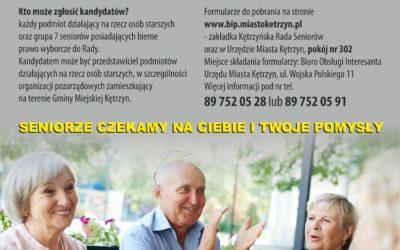 SENIORZE CZEKAMY NA CIEBIE I TWOJE POMYSŁY! Burmistrz Miasta Kętrzyn ogłasza nabór kandydatów do Kętrzyńskiej Rady Seniorów i Komisji Wyborczej