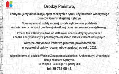 Informacja w sprawie aktualizacji wysokości opłat rocznych za grunty obrębu nr 6 w Gminie Miejskiej Kętrzyn