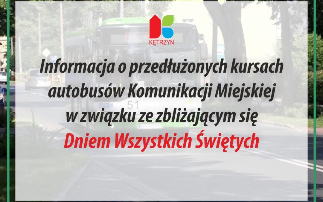 Informacja o przedłużonych kursach autobusów Komunikacji Miejskiej w związku ze zbliżającym się Dniem Wszystkich Świętych